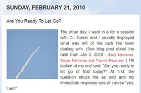 Blog post from February 21, 2010 called Are You Ready To Let Go